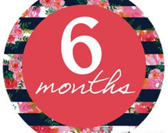 Navy and pink floral - 040 - navy, pink and orange monthly stickers or iron on decals