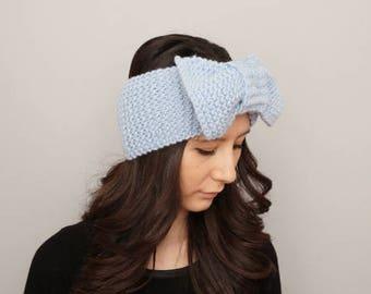 Knit bow headband earwarmer  - COLOR OPTION available