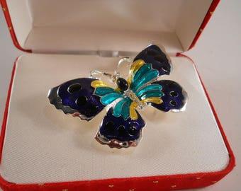 Amanda Smith Butterfly Pin Blue Green Original box