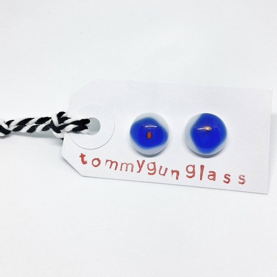 Red, Blue and White Glass Stud Earrings