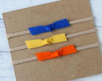 Wool Felt {PIPER} Bows - Set of 3 - Nylon Headbands - Royal, Yellow, Orange - One Size Fits All