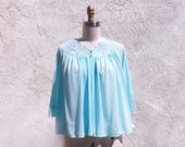 1/2 Off SALE Vintage Bed Jacket, Aqua 80s Nylon Lingerie, New With Tags