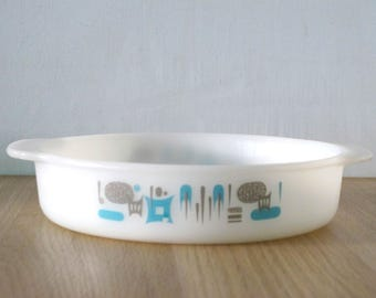 Vintage Blue Heaven Fire King 1 QT Glass Flat Casserole Baking Dish Mid Century 1950s Retro Turquoise Atomic Made in USA