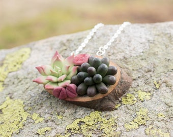 Green Succulent Necklace Pendant Wooden Basis Medallion Pendant Jewelry Succulent wedding birthday gifts