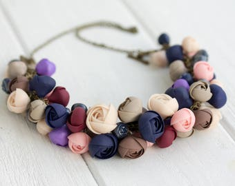 Ivory Marsala Floral Flowers bib Necklace Wedding bridesmaid Bridal boho party gifts necklace chunky floral necklace