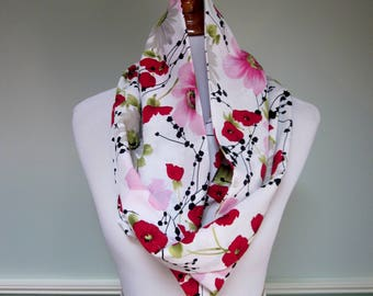 Red and Pink Floral Infinity Scarf