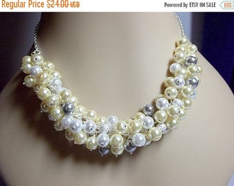 30% OFF SALE thru Mon Yellow Gray and White Pearl Cluster Necklace, Mothers Day Gift, Spring Summer Jewelry, Mom Sister Grandmother Jewelry,