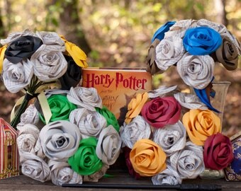 Harry Potter Book Page and House Colors Bouquet
