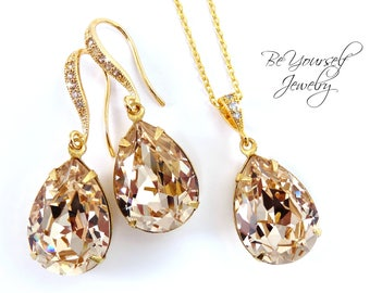 Champagne Bridal Earrings Gold Teardrop Bride Necklace Pastel Wedding Jewelry Swarovski Crystal Light Silk Wedding Earrings Bridesmaid Gift