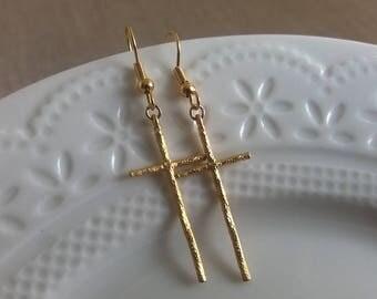 Large Gold Cross Earrings,  Large Cross Charm,Cross Pendant, Cross Jewelry,Long Earrings, Steampunk Earrings, Cross Jewelry, Edgy Earrings