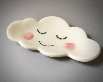 Ceramic cloud trinket ring dish