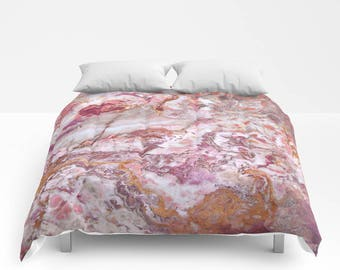 Pink Marble Duvet Cover or Comforter, Bedspread Twin Full White Mauve Rust Grey Purple Red Orange Stone Texture Girls Dorm Bedding Teen Room