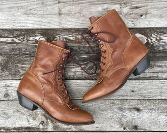 9.5 M | Women Durnago Brown Lace Up Boots Pointed Toes Granny Booties