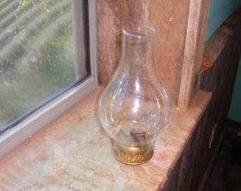 Vintage Oil Lamp Brass Burner Top & Etched Glass Chimney