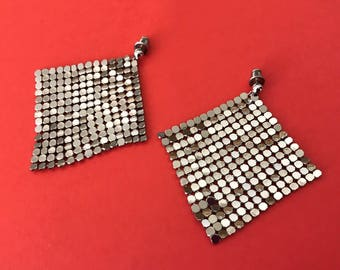 Vintage 1960's Silver Tone Chain Mesh Post Earrings