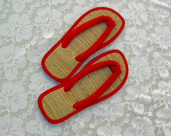 Japanese Tatami Zori Sandals, red fabric, straw tatami, rubber soles, unused, like new, vintage