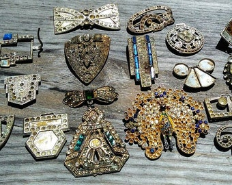 Destash Art Deco Trash Used to Be Ritzy Jewelry Now Yours To Upcycle Genuine Old Antique Peacock Brooch Buckles Lot for Making Jewelry