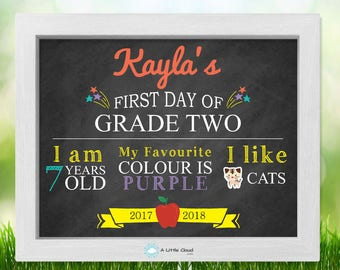 First day of school 8 x 10 Printable, first day of Grade 2, First day of school sign, Chalkboard Sign, customize and personalize