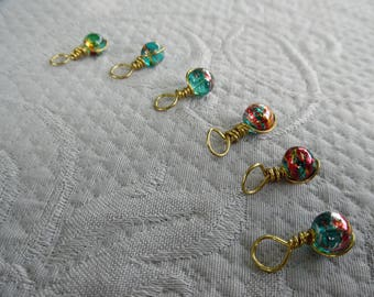 "Stitchmarkers for knitting, set of 6, ""Fourty Two"", up to 5 mm needles"