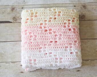 READY TO SHIP - Crochet Baby Blanket, Chevron Baby Blanket, Striped Baby Blanket, Lightweight Baby Blanket, Soft Baby Blanket, Baby Shower