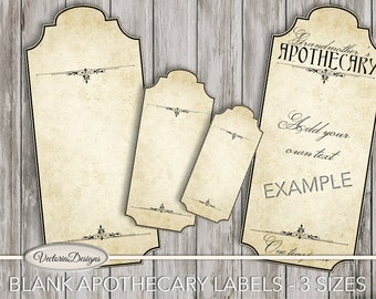 Blank Apothecary Labels blank digital download apothecary jars scrapbook craft instant download digital collage sheet - VDAPVI1524