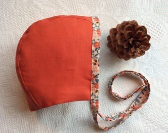Bonnet, Baby Bonnet, Linen Bonnet, Reversible Bonnet, Girl's Bonnet, Handmade Bonnet