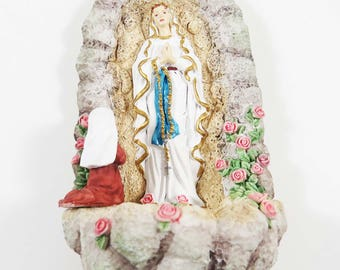 Vintage OUR LADY of LOURDES Holy Water Font: Ceramic Hand Painted - Catholic Religious Wall Decor w Virgin Mary at Lourdes Grotto