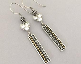 Everyday Earrings Gift for Girlfriend - Rhinestone Dangle Earrings - Mixed Metal Pierced Earrings - Everyday Jewelry Earrings Gift Idea
