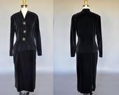 40s black velvet skirt suit | vintage 1940s black blazer and matching skirt | oversized rose buttons, peplum