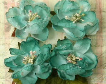 Aqua Teal Fabric Flowers Botanical Sugared Blooms with leaves (7 pcs)  embellishment flowers 1130-104 flower decoration wedding hair