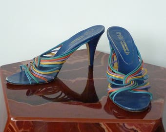 Vintage 1970s Shoes/Colorful Strappy High Heel Slides/70s Sandals