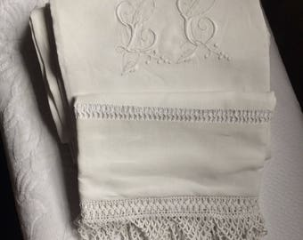 "Vintage French linen sheet with beautiful 3"" lace border and monogram"