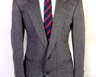 euc Henry Grethel Gray/Silver Plaid 100% Wool Tweed Blazer Sportcoat sz 38 S