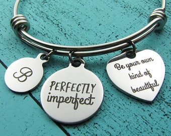 body positive bracelet, eating disorder recovery gift, inspirational gift, be your own kind of beautiful, mental health awareness jewelry