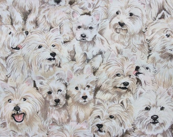 Gold Yorkie Fabric Fat Quarter Quilting Fabric Gold Beige White Light Baby Pup Puppies