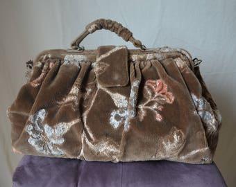 vintage floral cut velvet large overnight travel carpet bag