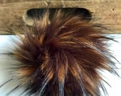 Tortoise Shell Faux Fur Plush Large Black Pom Pom Handmade Fake Vegan for Toques Beanies Hats Keychains Purse Zipper Fob