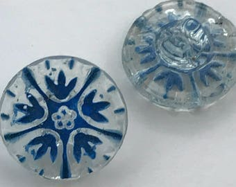 Vintage European Clear Glass Buttons with Blue - Set of 20
