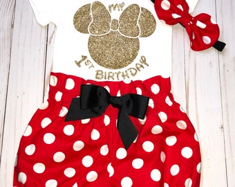 Cake Smash Outfit, Baby Girl 1st Birthday Outfit, Knot Bow Headband, Complete Baby or Toddler Set, First Minnie Birthday ,Minnie Mouse Ears