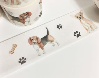 Watercolor Painted Dog Beagle Chihuahua Bull Dog Pug Dog Bone Puppy Washi Tape 5.5 yards 5 meters 30mm