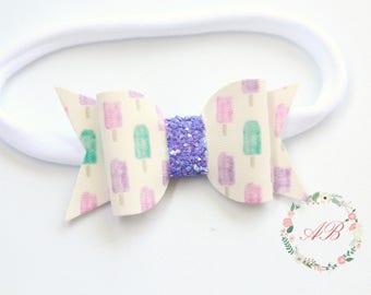 Summer Bow Headband - Popsicle Bow Headband - Baby Bow Headband - Nylon Headband - Summer Baby Bow Headband
