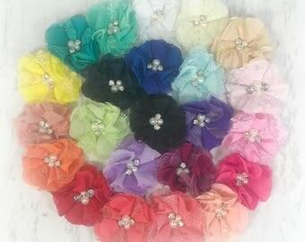 "2.5"", Lace Chiffon Flowers, Pearl/Rhinestone Center, Chiffon Lace Flowers, Chiffon Flowers, Lace Flowers, DIY Hair Accessories, Wholesale"