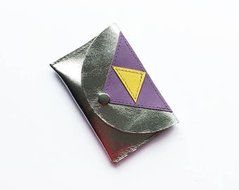 Geometric patterned leather stitched 'Pop' purse - Silver, purple & yellow