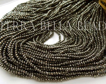 "13"" strand natural golden AAA PYRITE faceted gem stone rondelle beads 2mm - 2.5mm"