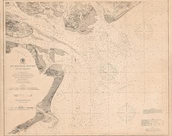 1868 Nautical Chart of St. Helena Sound