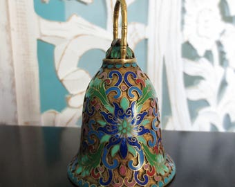 Vintage Cloisonné Bell Asian Chrysanthemum Home Décor Brass Enamel Chinese Collectible