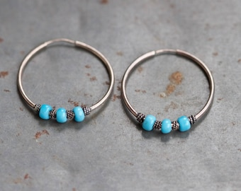 """Sterling Silver Hoop Earrings 1.1"""" with Turquoise Stones"""