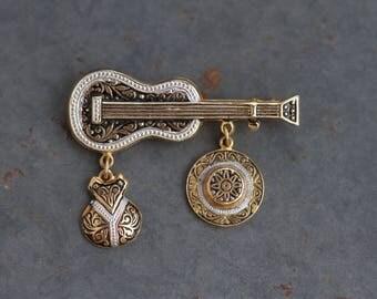 Guitar Lapel Pin - Spanish Damascene Brooch with Pearl - Flamenco Souvenir from Spain