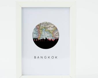 Bangkok map art | Bangkok print wall art | Bangkok Thailand art | Bangkok wall art | Bangkok gift | Bangkok Thailand gift | Thailand art