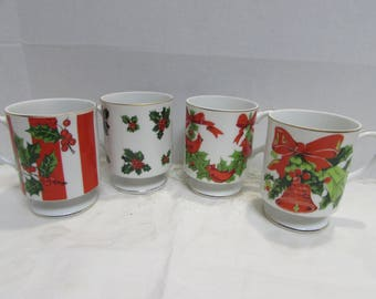 Lefton Christmas Coffee Mugs - Pedestal Coffee Mugs - Set of 4 - Numbered - Holly - Christmas in July